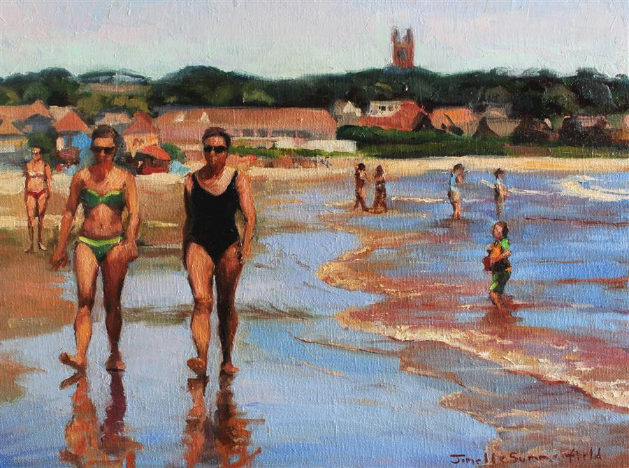 Original art for sale at UGallery.com | Easton's Beach of Newport by JONELLE SUMMERFIELD | $575 |  | 12' h x 16' w | ..\art\oil-painting-Easton-s-Beach-of-Newport