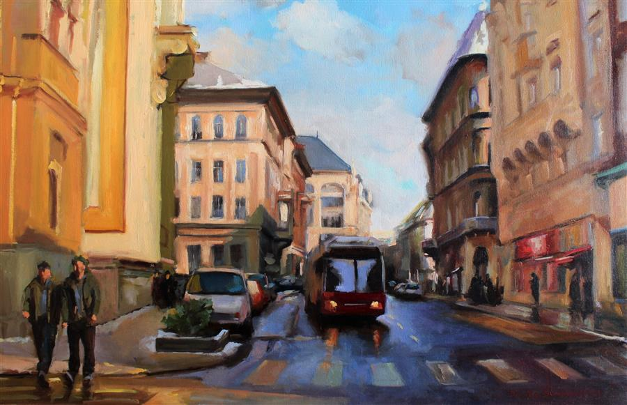 Original art for sale at UGallery.com | Street in Budapest by JONELLE SUMMERFIELD | $2,000 |  | 24' h x 36' w | ..\art\oil-painting-Street-in-Budapest