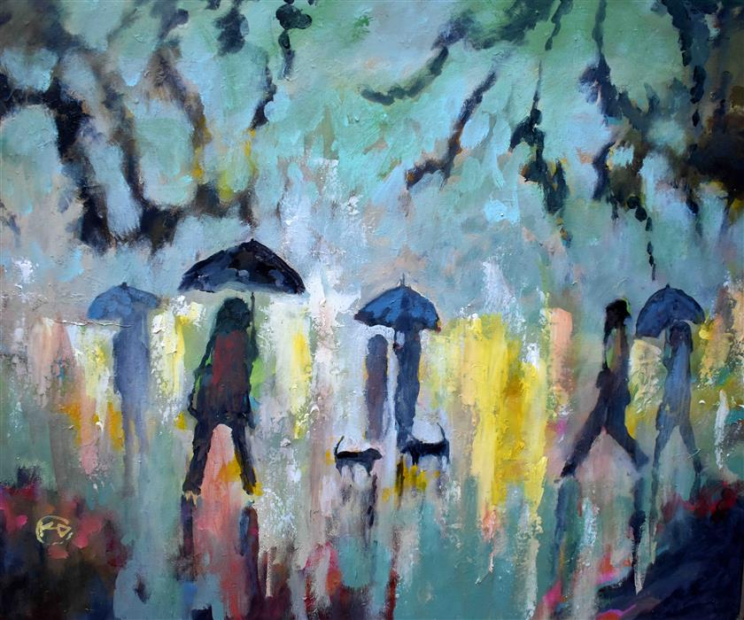 Original art for sale at UGallery.com | Two Dachshunds in the Rain by KIP DECKER | $2,700 |  | 30' h x 36' w | ..\art\acrylic-painting-Two-Dachshunds-in-the-Rain
