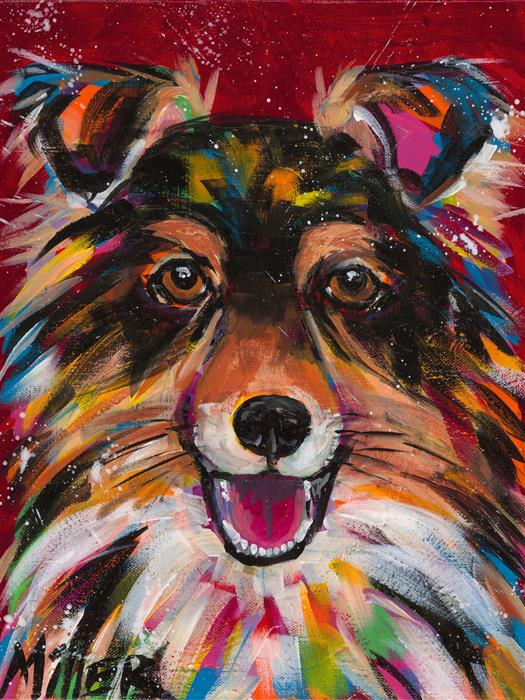 Original art for sale at UGallery.com | Sheltie Smile by TRACY MILLER | $425 |  | 14' h x 11' w | ..\art\acrylic-painting-Sheltie-Smile