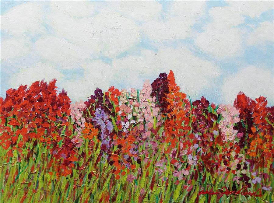 Original art for sale at UGallery.com | Red Garden by ALLAN P. FRIEDLANDER | $625 |  | 18' h x 24' w | ..\art\acrylic-painting-Red-Garden