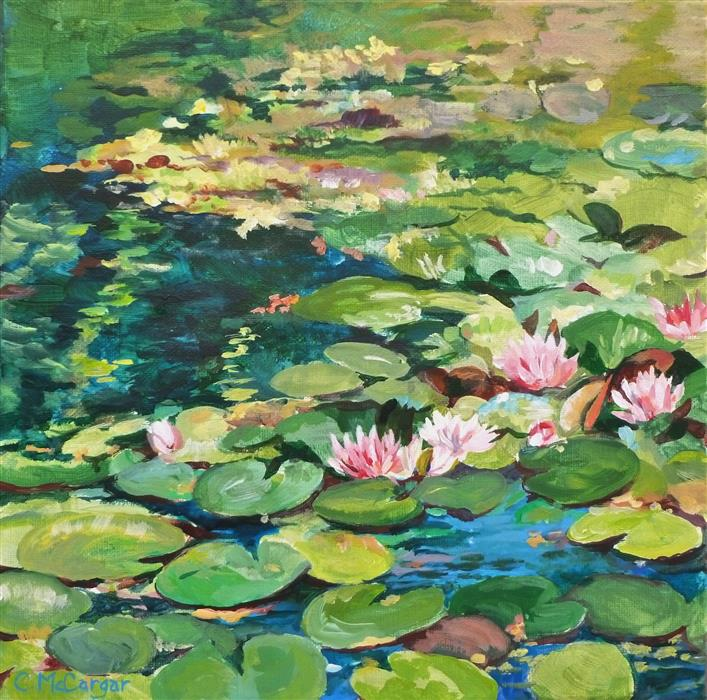 Original art for sale at UGallery.com | Lily Pond by Catherine McCargar | $475 | acrylic painting | 12' h x 12' w | ..\art\acrylic-painting-Lily-Pond