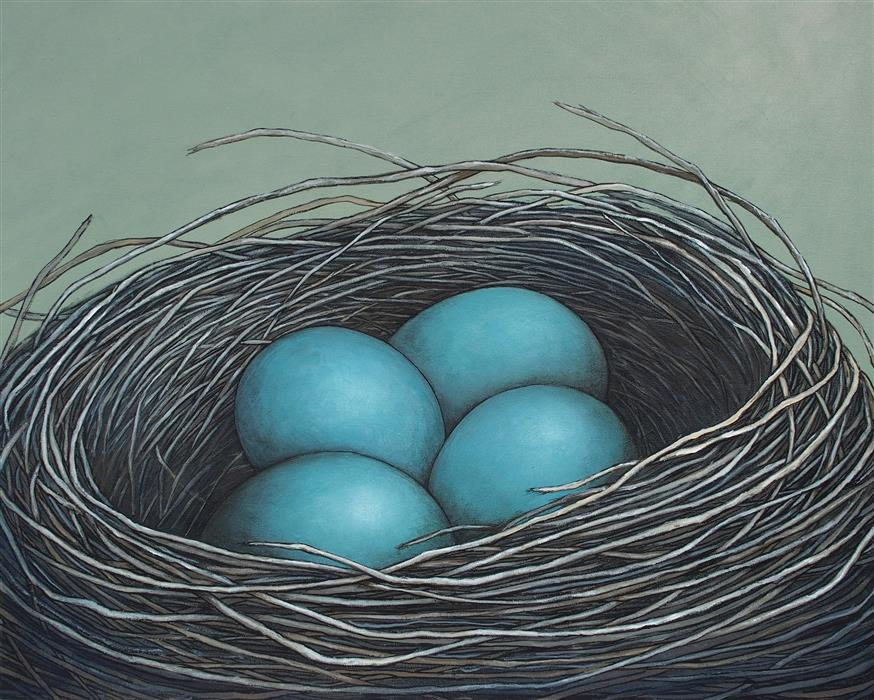Original art for sale at UGallery.com | Nest In The Morning Light by JENNIFER ROSS | $1,300 |  | 24' h x 30' w | ..\art\acrylic-painting-Nest-In-The-Morning-Light