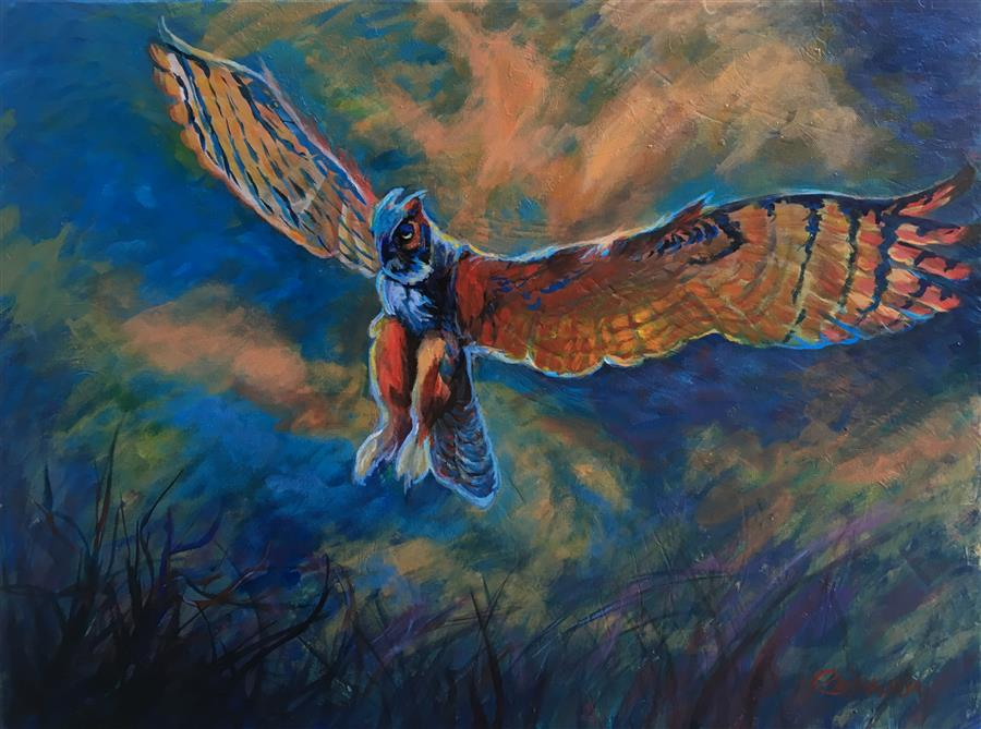 Original art for sale at UGallery.com | Poetry in Flight by Pandalana Williams | $675 | mixed media artwork | 18' h x 24' w | ..\art\mixed-media-artwork-Poetry-in-Flight