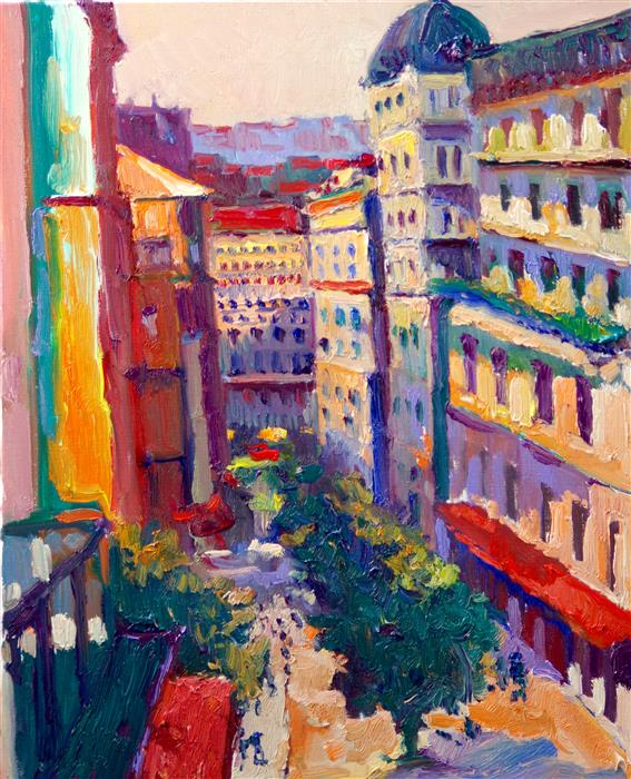 Original art for sale at UGallery.com | Street View in Paris by Suren Nersisyan | $475 | oil painting | 20' h x 16' w | ..\art\oil-painting-Street-View-in-Paris