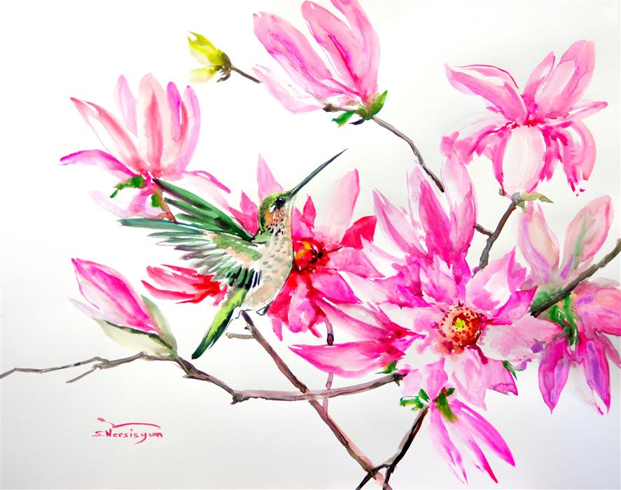 Original art for sale at UGallery.com | Hummingbird and Pink Magnolia Flowers by Suren Nersisyan | $400 | watercolor painting | 19' h x 24' w | ..\art\watercolor-painting-Hummingbird-and-Pink-Magnolia-Flowers