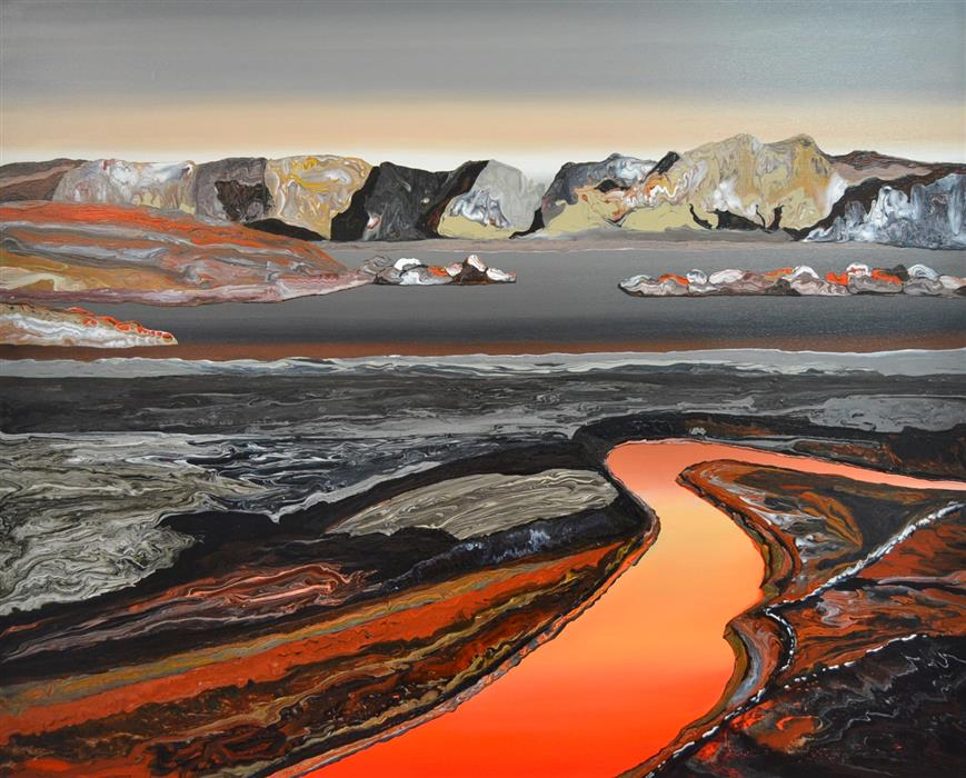 Original art for sale at UGallery.com | River of Lava by GABRIELA FERNANDEZ | $3,600 |  | 39' h x 47' w | ..\art\acrylic-painting-River-of-Lava