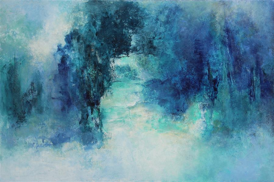 Original art for sale at UGallery.com | A Timeless Placeless Space by Karen Hansen | $3,850 | acrylic painting | 32' h x 48' w | ..\art\acrylic-painting-A-Timeless-Placeless-Space