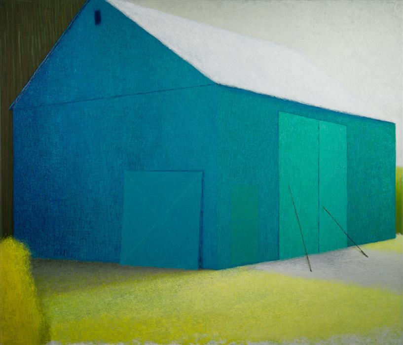 Original art for sale at UGallery.com | A Barn for Robin's Egg Blue by SEAN WILLIAMS | $3,825 |  | 52' h x 60' w | ..\art\oil-painting-A-Barn-for-Robin-s-Egg-Blue
