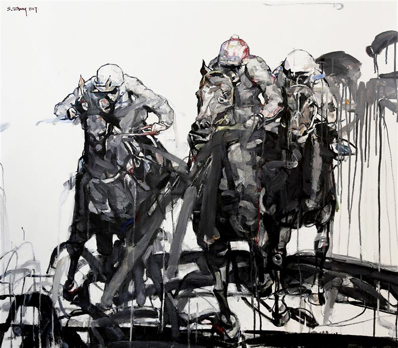 Original art for sale at UGallery.com | The Derby Race by SHAO YUAN ZHANG | $6,250 |  | 38' h x 43.25' w | ..\art\oil-painting-The-Derby-Race