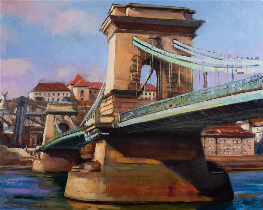 Original art for sale at UGallery.com | Chain Bridge of Budapest II by Jonelle Summerfield | $1,375 | oil painting | 24' h x 30' w | ..\art\oil-painting-Chain-Bridge-of-Budapest-II