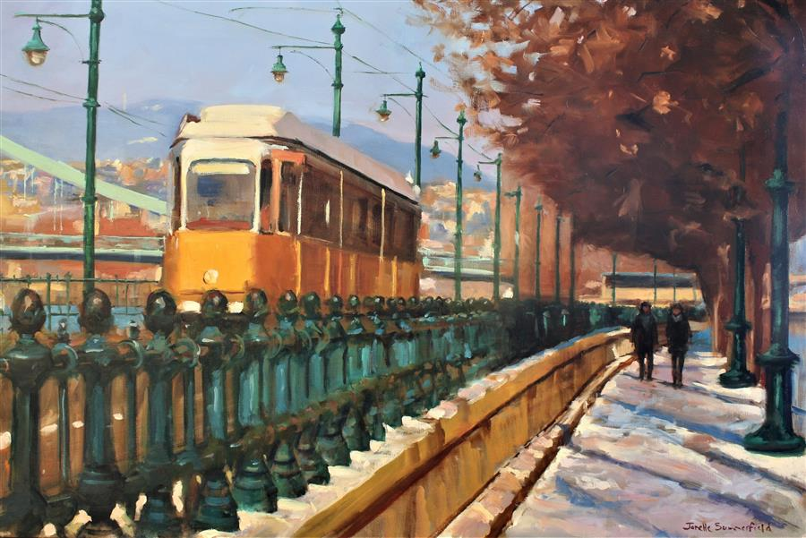 Original art for sale at UGallery.com | Streetcar in Budapest by JONELLE SUMMERFIELD | $2,000 |  | 24' h x 36' w | ..\art\oil-painting-Streetcar-in-Budapest