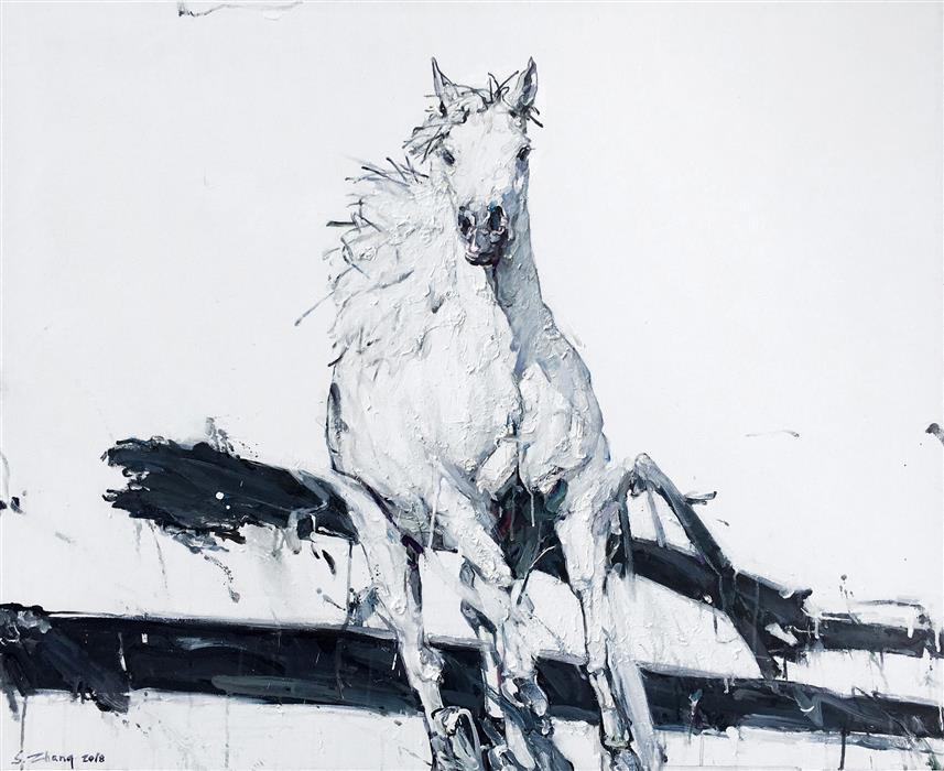 Original art for sale at UGallery.com | White Stallion by SHAO YUAN ZHANG | $6,275 |  | 38' h x 46' w | ..\art\oil-painting-White-Stallion