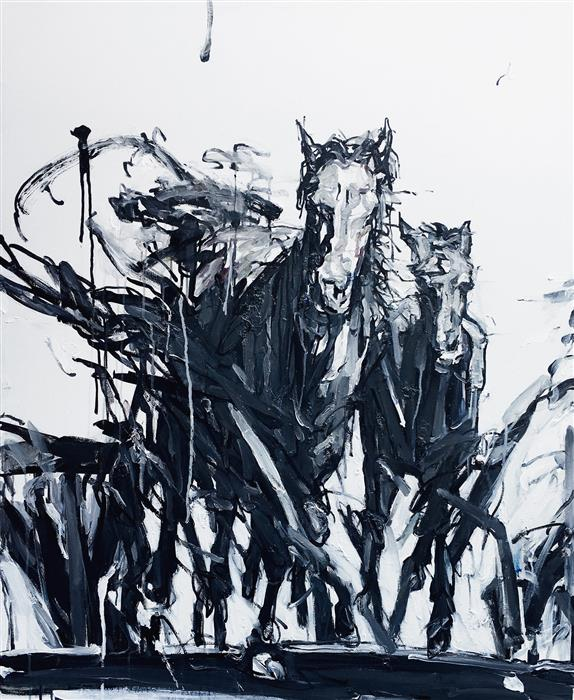 Original art for sale at UGallery.com | The Herd by Shao Yuan Zhang | $6,500 | oil painting | 46' h x 38' w | ..\art\oil-painting-The-Herd