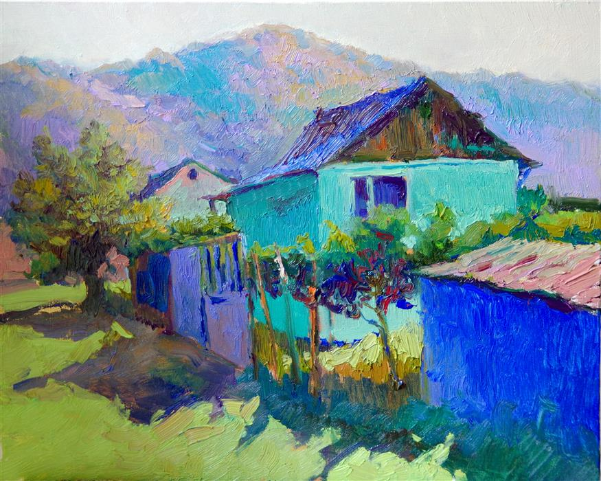 Original art for sale at UGallery.com | Landscape with Turquoise House, Morning by Suren Nersisyan | $475 | oil painting | 16' h x 20' w | ..\art\oil-painting-Landscape-with-Turquoise-House-Morning