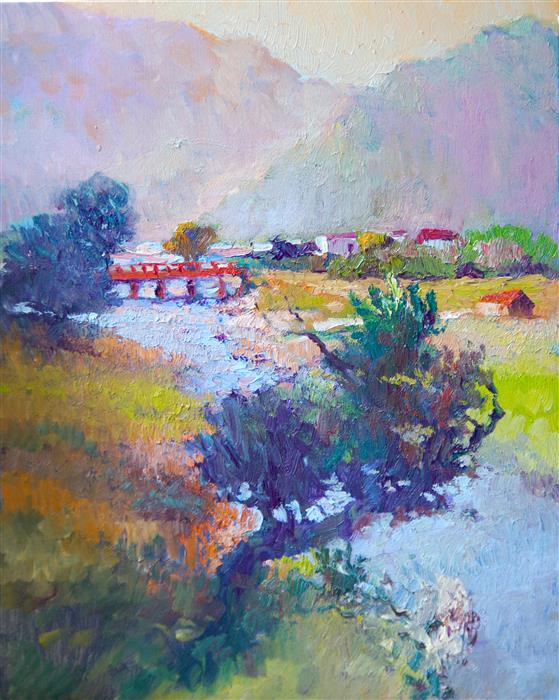 Original art for sale at UGallery.com | Evening Landscape with Red Bridge by Suren Nersisyan | $475 | oil painting | 20' h x 16' w | ..\art\oil-painting-Evening-Landscape-with-Red-Bridge