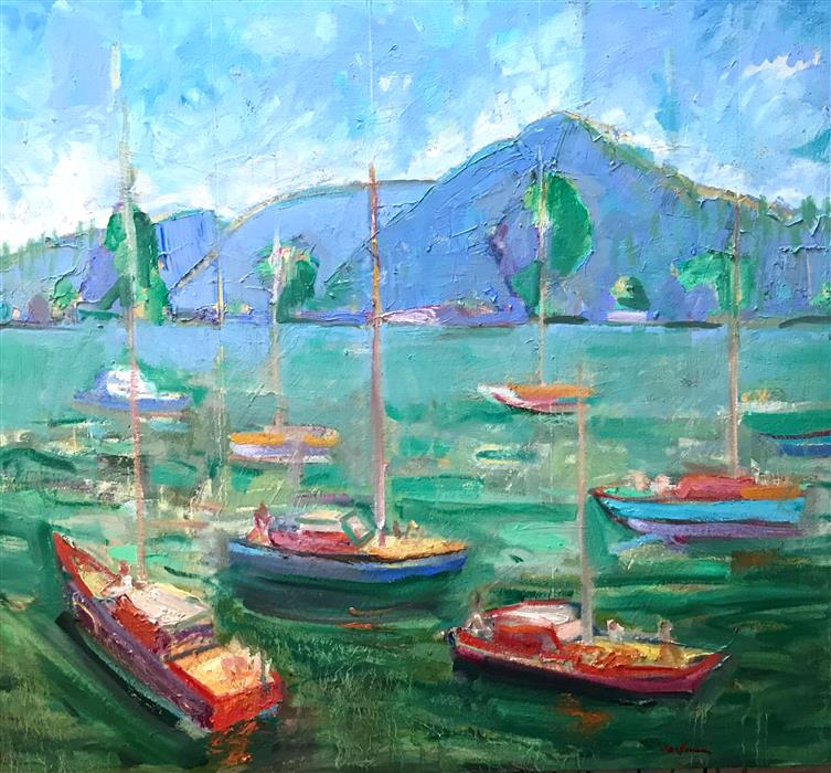 Original art for sale at UGallery.com | Mt. Tam from the Berkeley Marina by JAMES HARTMAN | $2,275 |  | 31' h x 34' w | ..\art\oil-painting-Mt-Tam-from-the-Berkeley-Marina