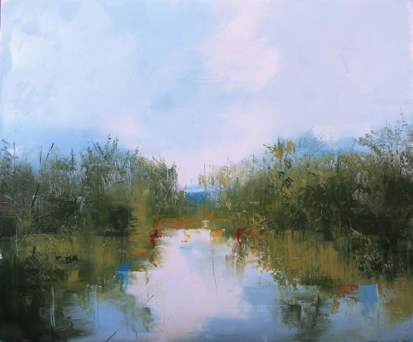 Original art for sale at UGallery.com | River's Landscape by Ronda Waiksnis | $1,100 | oil painting | 31.5' h x 37' w | ..\art\oil-painting-River-s-Landscape