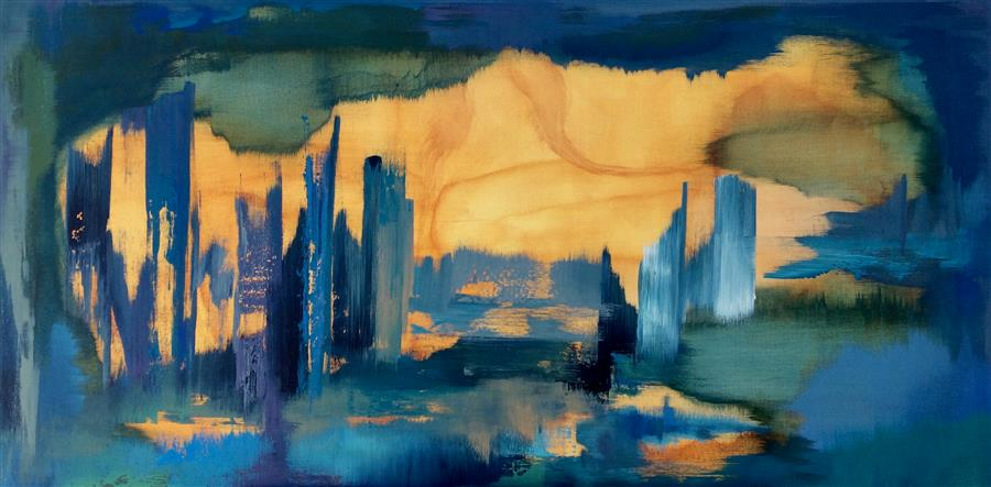 Original art for sale at UGallery.com | Urban Oasis by ALICIA DUNN | $1,525 |  | 24' h x 48' w | ..\art\acrylic-painting-Urban-Oasis