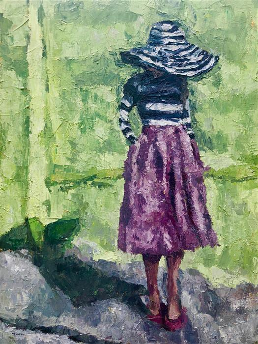 Original art for sale at UGallery.com | The Striped Hat by NAVA LUNDY | $2,500 |  | 40' h x 30' w | ..\art\acrylic-painting-The-Striped-Hat