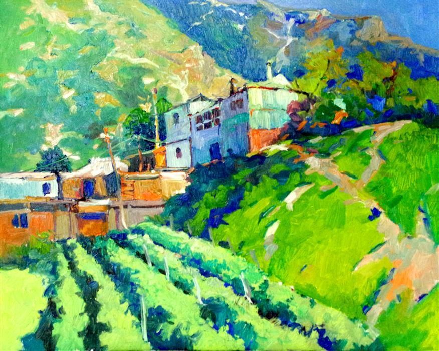 Original art for sale at UGallery.com | Farm Houses in the Mountains, Green Summer Mountain Landscape by Suren Nersisyan | $800 | oil painting | 24' h x 30' w | ..\art\oil-painting-Farm-Houses-in-the-Mountains-Green-Summer-Mountain-Landscape