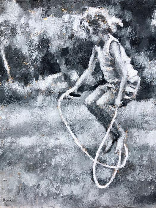 Original art for sale at UGallery.com | Jump by NAVA LUNDY | $975 |  | 16' h x 20' w | ..\art\acrylic-painting-Jump-61117