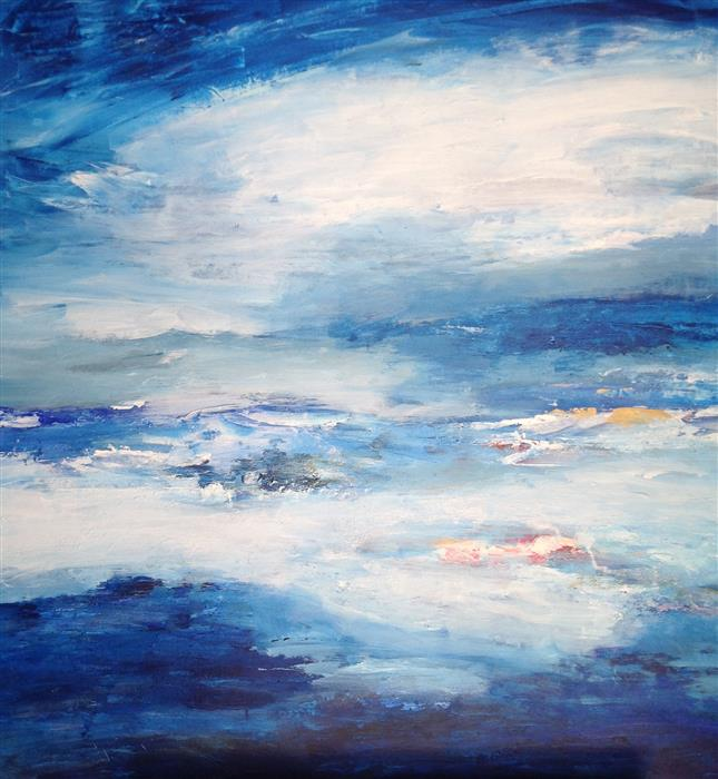 Original art for sale at UGallery.com | Ocean Reflections by HILMA KOELMAN | $1,950 |  | 30' h x 28' w | ..\art\acrylic-painting-Ocean-Reflections