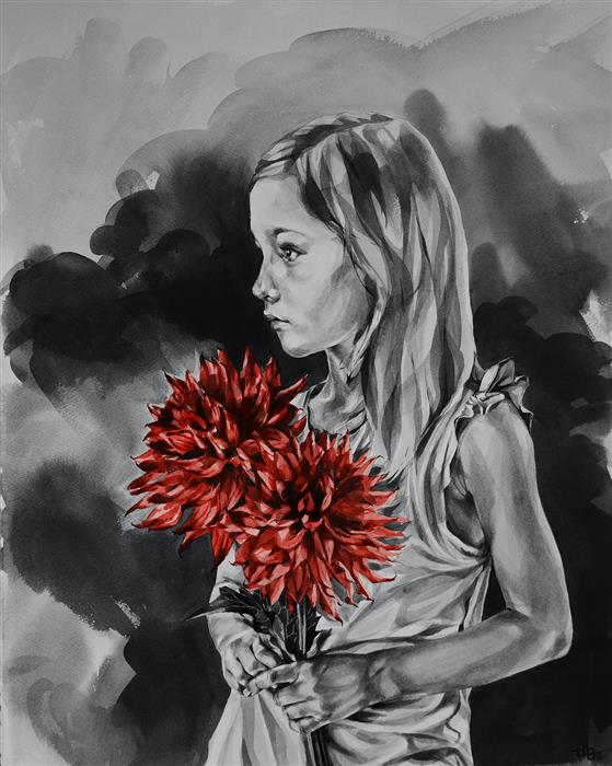Original art for sale at UGallery.com | Girl With Dahlias by SUZANNA ORLOVA | $1,025 |  | 20' h x 16' w | ..\art\watercolor-painting-Girl-With-Dahlias