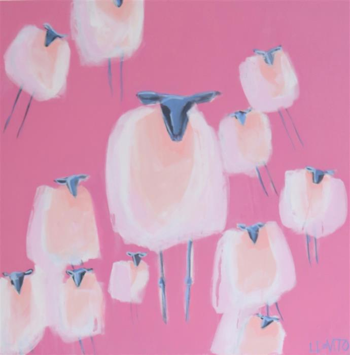 Original art for sale at UGallery.com | Cotton Candy Ladies by Lesli DeVito | $1,550 | acrylic painting | 30' h x 30' w | ..\art\acrylic-painting-Cotton-Candy-Ladies