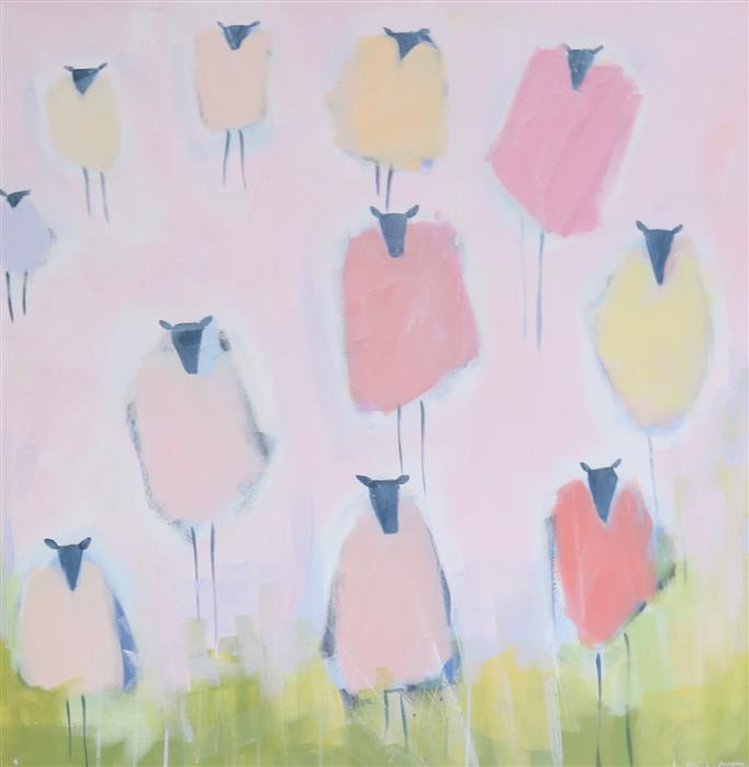 Original art for sale at UGallery.com | She Went To A Garden Party by Lesli DeVito | $1,850 | acrylic painting | 30' h x 30' w | ..\art\acrylic-painting-She-Went-To-A-Garden-Party