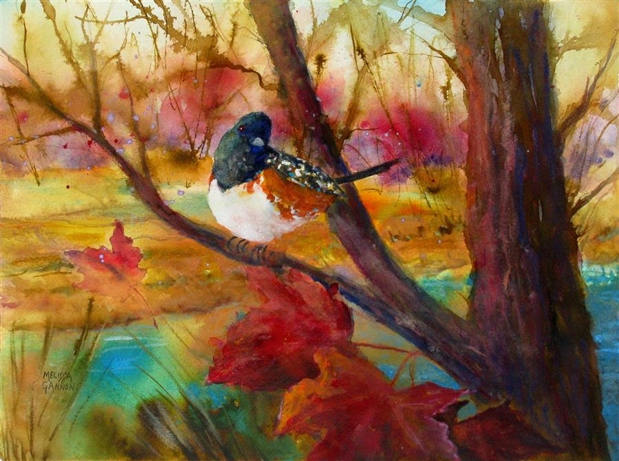 Original art for sale at UGallery.com | Song of Autumn by MELISSA GANNON | $300 |  | 11' h x 15' w | ..\art\mixed-media-artwork-Song-of-Autumn