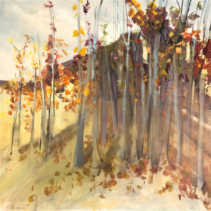 Original art for sale at UGallery.com | 16th Notes of Autumn by Patricia Fabian | $4,500 | acrylic painting | 48' h x 48' w | ..\art\acrylic-painting-16th-Notes-of-Autumn