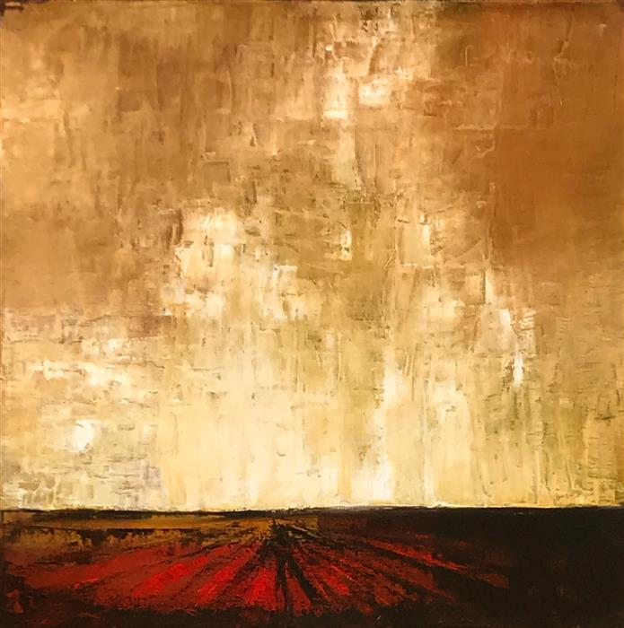 Original art for sale at UGallery.com | Red Field XIX by MANDY MAIN | $900 |  | 20' h x 20' w | ..\art\oil-painting-Red-Field-XIX