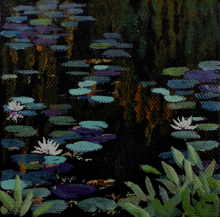 Original art for sale at UGallery.com | Floating Lilypads II by CATHERINE MCCARGAR | $75 |  | 4' h x 4' w | ..\art\acrylic-painting-Floating-Lilypads-II