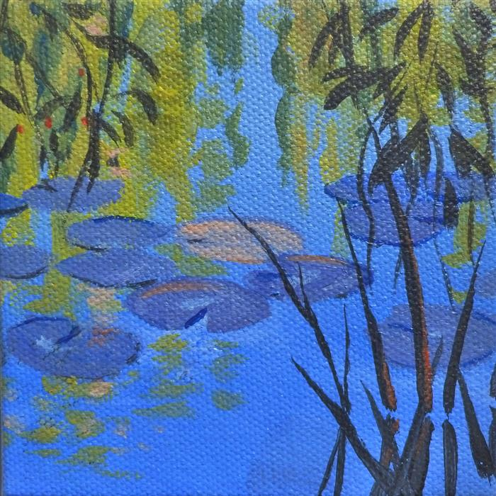 Original art for sale at UGallery.com | Waterlilies and Willows by CATHERINE MCCARGAR | $75 |  | 4' h x 4' w | ..\art\acrylic-painting-Waterlilies-and-Willows