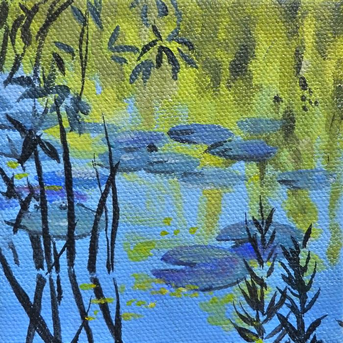 Original art for sale at UGallery.com | Waterlilies and Willows II by Catherine McCargar | $75 | acrylic painting | 4' h x 4' w | ..\art\acrylic-painting-Waterlilies-and-Willows-II