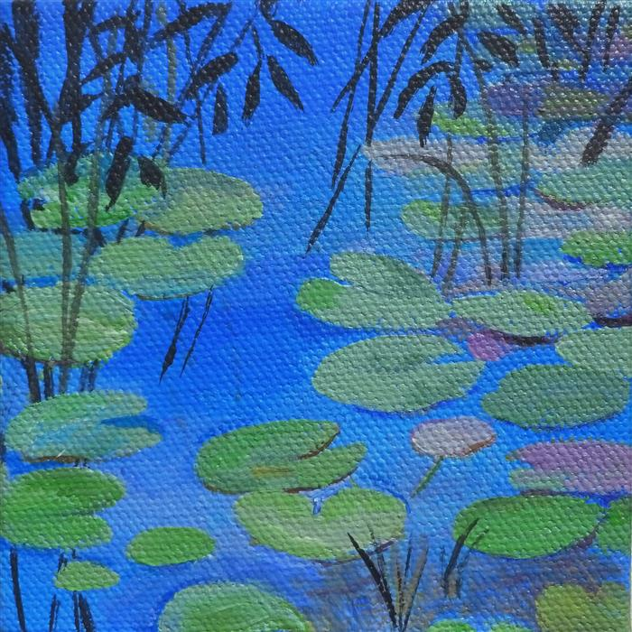 Original art for sale at UGallery.com | Lilypads by Catherine McCargar | $75 | acrylic painting | 4' h x 4' w | ..\art\acrylic-painting-Lilypads