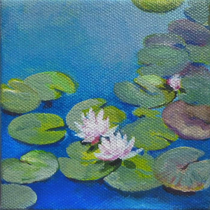 Original art for sale at UGallery.com | Pond Princesses by Catherine McCargar | $75 | acrylic painting | 4' h x 4' w | ..\art\acrylic-painting-Pond-Princesses