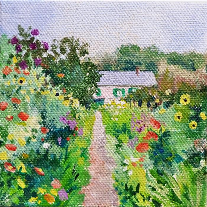 Original art for sale at UGallery.com | Monet's Garden by CATHERINE MCCARGAR | $75 |  | 4' h x 4' w | ..\art\acrylic-painting-Monet-s-Garden