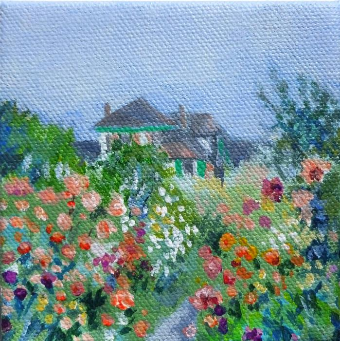 Original art for sale at UGallery.com | Monet Morning by Catherine McCargar | $75 | acrylic painting | 4' h x 4' w | ..\art\acrylic-painting-Monet-Morning