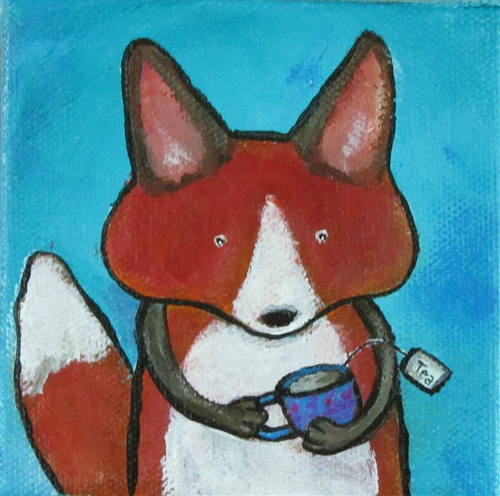 Original art for sale at UGallery.com | Tea with a Fox by ANDREA DOSS | $75 |  | 4' h x 4' w | ..\art\acrylic-painting-Tea-with-a-Fox