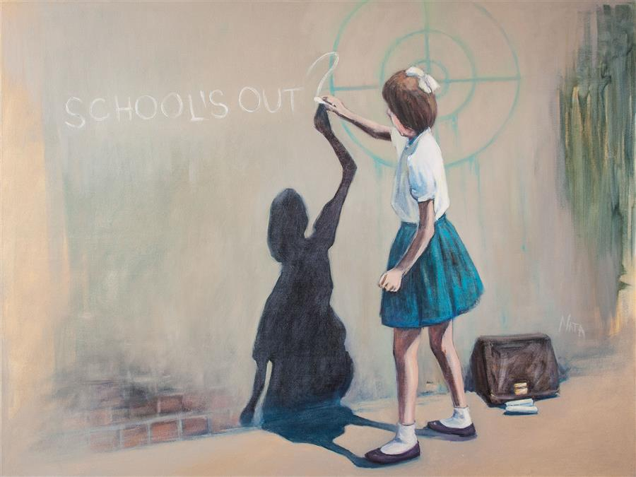 Original art for sale at UGallery.com | School's Out? by Nata Zaikina | $1,600 | oil painting | 30' h x 40' w | ..\art\oil-painting-School-s-Out-61295