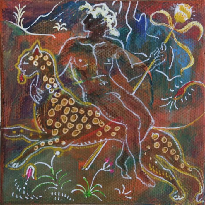 Original art for sale at UGallery.com | Dionysius by Dina Volkova | $75 | mixed media artwork | 4' h x 4' w | ..\art\mixed-media-artwork-Dionysius