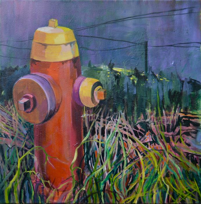 Original art for sale at UGallery.com | Urban Outskirts 1 by Julia Hacker | $1,200 | oil painting | 24' h x 24' w | ..\art\oil-painting-Urban-Outskirts-1