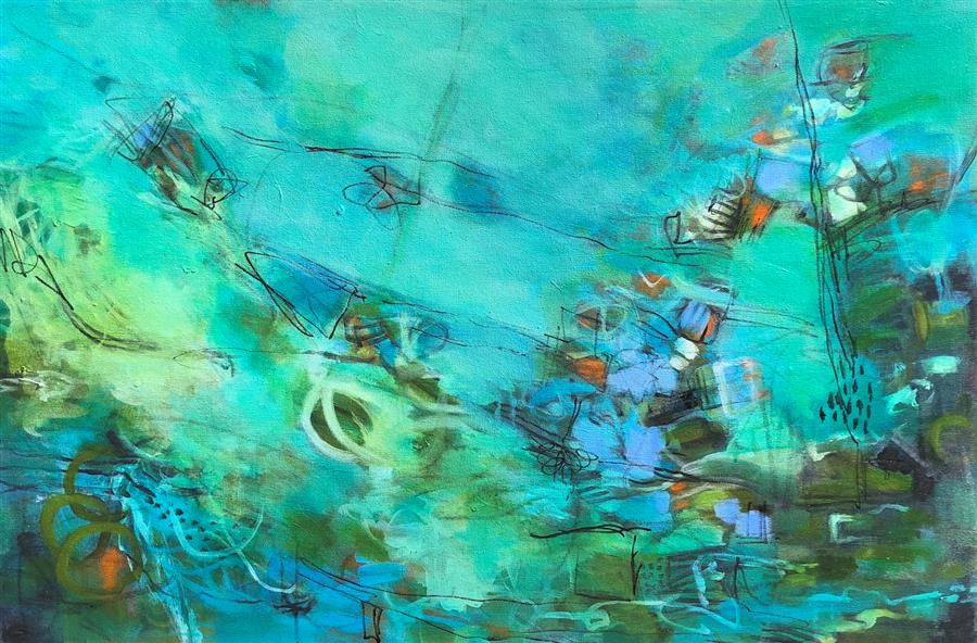 Original art for sale at UGallery.com | Plans For The Weekend by FAITH TAYLOR | $1,400 |  | 24' h x 36' w | ..\art\acrylic-painting-Plans-For-The-Weekend