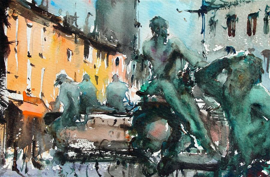 Original art for sale at UGallery.com | Firenze Streets and Square by Maximilian Damico | $650 | watercolor painting | 7.5' h x 11' w | ..\art\watercolor-painting-Firenze-Streets-and-Square