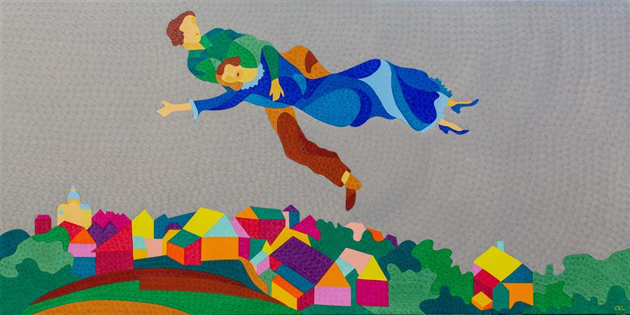 Original art for sale at UGallery.com | Mark and Bella Chagall Above the City by NATALIA LVOVA | $4,550 |  | 36' h x 72' w | ..\art\oil-painting-Mark-and-Bella-Chagall-Above-the-City