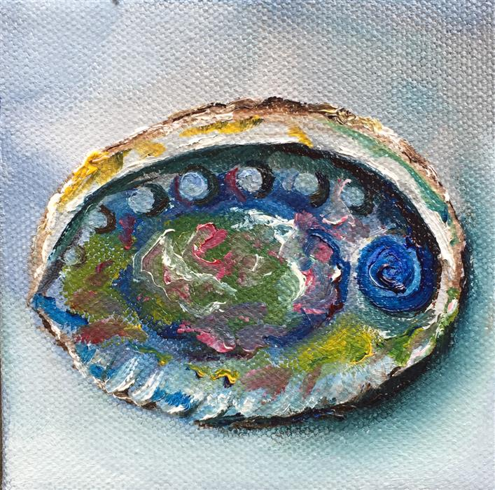 Original art for sale at UGallery.com | Abalone Shell by Kristine Kainer | $75 | oil painting | 4' h x 4' w | ..\art\oil-painting-Abalone-Shell