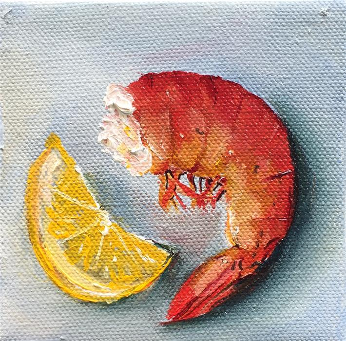 Original art for sale at UGallery.com   Shrimp with Lemon by Kristine Kainer   $75   oil painting   4' h x 4' w   ..\art\oil-painting-Shrimp-with-Lemon