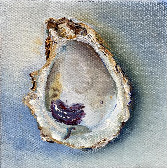 Original art for sale at UGallery.com | Empty Oyster Shell by KRISTINE KAINER | $75 |  | 4' h x 4' w | ..\art\oil-painting-Empty-Oyster-Shell
